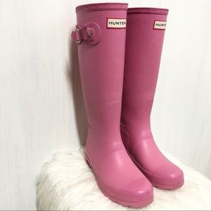 Hunter Original Tall Matte Pink Girl Rainboots